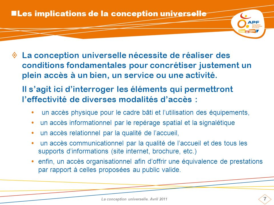 7 La conception universelle.
