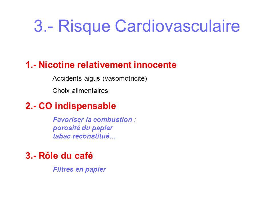 3.- Risque Cardiovasculaire 1.- Nicotine relativement innocente Accidents aigus (vasomotricité) Choix alimentaires 2.- CO indispensable 3.- Rôle du ca