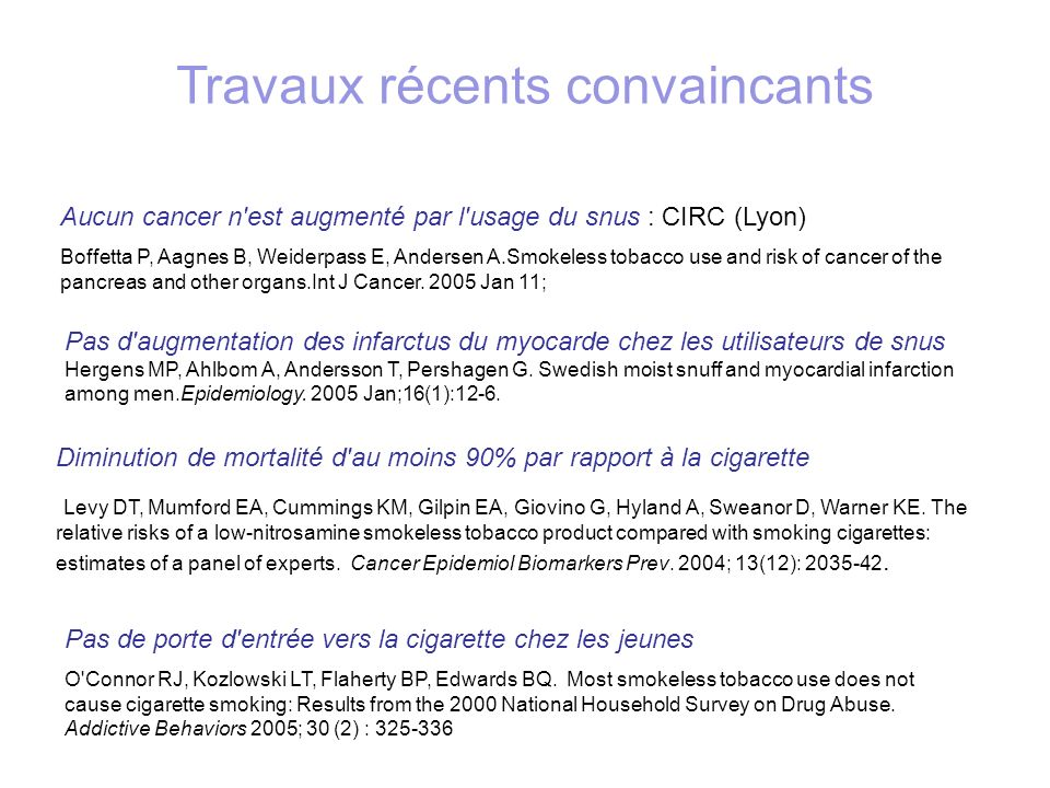 Aucun cancer n est augmenté par l usage du snus : CIRC (Lyon) Boffetta P, Aagnes B, Weiderpass E, Andersen A.Smokeless tobacco use and risk of cancer of the pancreas and other organs.Int J Cancer.