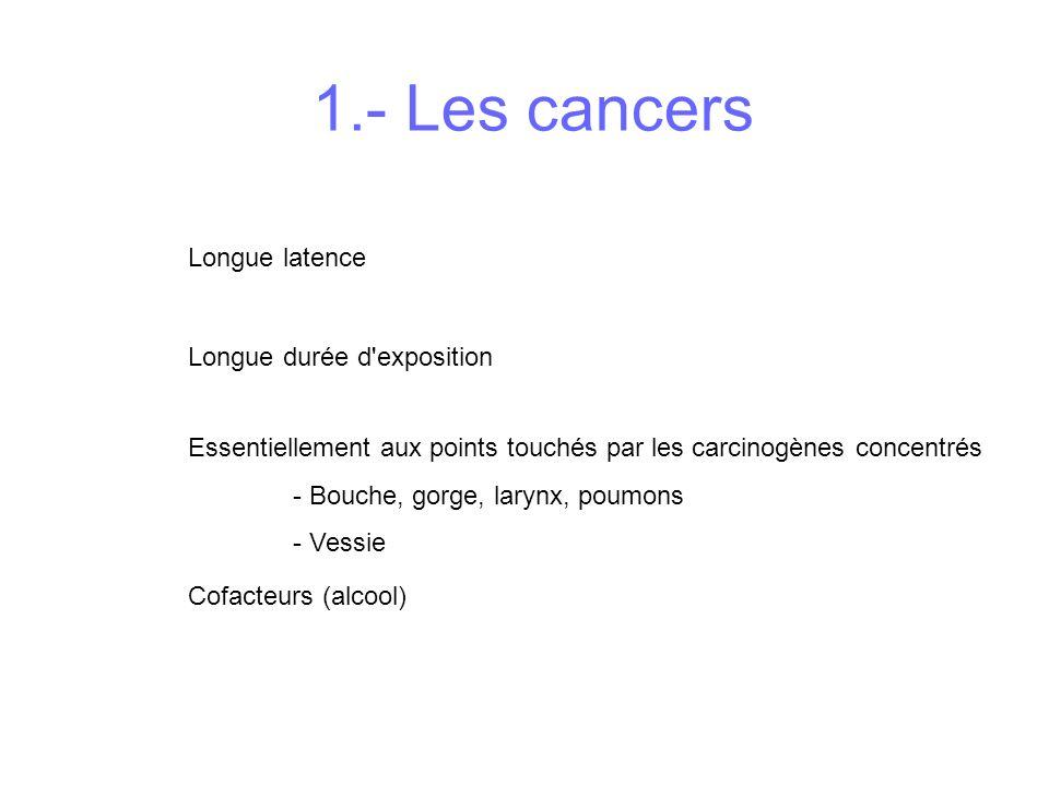 Essentiellement aux points touchés par les carcinogènes concentrés - Bouche, gorge, larynx, poumons - Vessie Longue latence Longue durée d'exposition