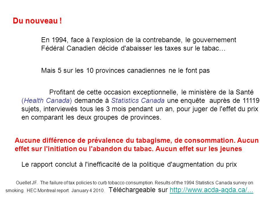 Du nouveau ! En 1994, face à l'explosion de la contrebande, le gouvernement Fédéral Canadien décide d'abaisser les taxes sur le tabac… Mais 5 sur les