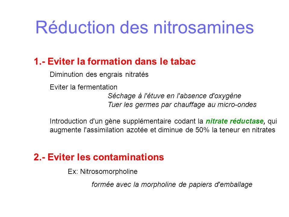 Réduction des nitrosamines Introduction d un gène supplémentaire codant la nitrate réductase, qui augmente l assimilation azotée et diminue de 50% la teneur en nitrates 2.- Eviter les contaminations Ex: Nitrosomorpholine formée avec la morpholine de papiers d emballage 1.- Eviter la formation dans le tabac Diminution des engrais nitratés Eviter la fermentation Séchage à l étuve en l absence d oxygène Tuer les germes par chauffage au micro-ondes