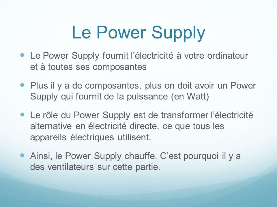 Le Power Supply Le Power Supply fournit lélectricité à votre ordinateur et à toutes ses composantes Plus il y a de composantes, plus on doit avoir un Power Supply qui fournit de la puissance (en Watt) Le rôle du Power Supply est de transformer lélectricité alternative en électricité directe, ce que tous les appareils électriques utilisent.
