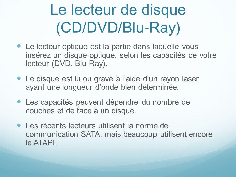 Le lecteur de disque (CD/DVD/Blu-Ray) Le lecteur optique est la partie dans laquelle vous insérez un disque optique, selon les capacités de votre lecteur (DVD, Blu-Ray).