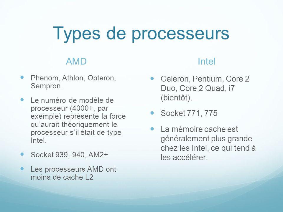 Architecture de processeur Sans entrer dans les détails, larchitecture dun processeur est la manière PHYSIQUE quun processeur calcule.