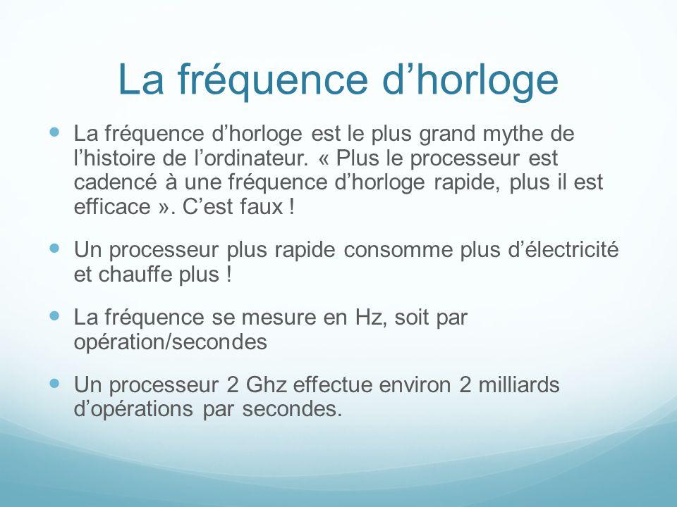 La fréquence dhorloge La fréquence dhorloge est le plus grand mythe de lhistoire de lordinateur.