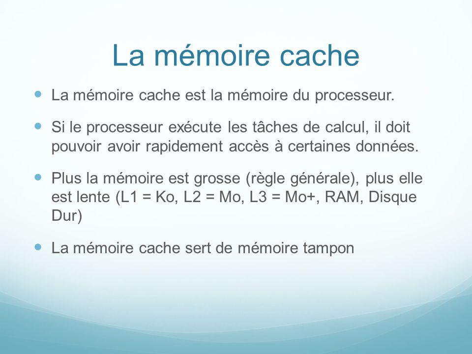 La mémoire cache La mémoire cache est la mémoire du processeur.