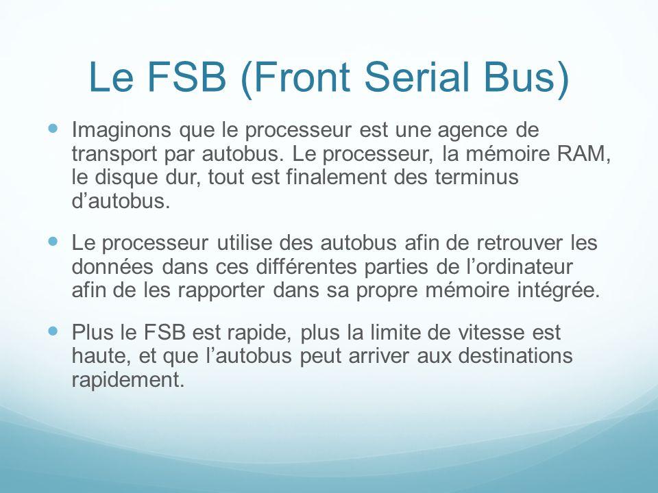 Le FSB (Front Serial Bus) Imaginons que le processeur est une agence de transport par autobus.