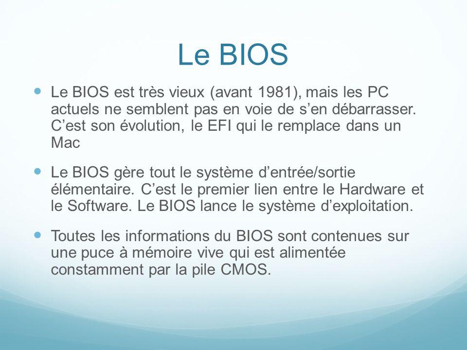 Le BIOS Le BIOS est très vieux (avant 1981), mais les PC actuels ne semblent pas en voie de sen débarrasser.