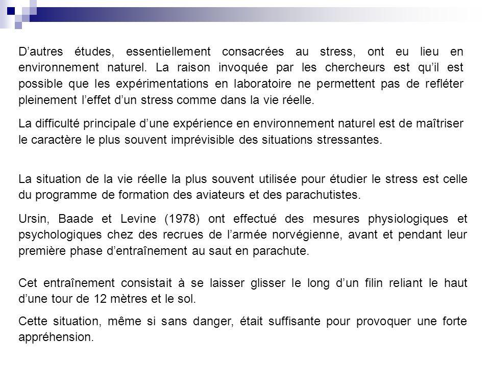 Dautres études, essentiellement consacrées au stress, ont eu lieu en environnement naturel.