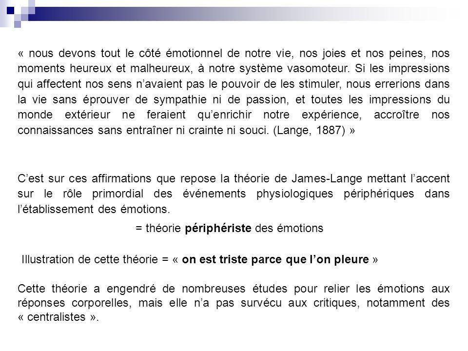 Cest sur ces affirmations que repose la théorie de James-Lange mettant laccent sur le rôle primordial des événements physiologiques périphériques dans létablissement des émotions.