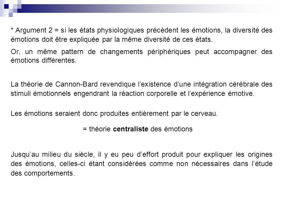La théorie de Cannon-Bard revendique lexistence dune intégration cérébrale des stimuli émotionnels engendrant la réaction corporelle et lexpérience émotive.