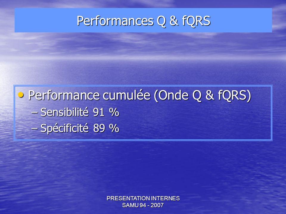 PRESENTATION INTERNES SAMU 94 - 2007 Performance cumulée (Onde Q & fQRS) Performance cumulée (Onde Q & fQRS) –Sensibilité 91 % –Spécificité 89 % Performances Q & fQRS