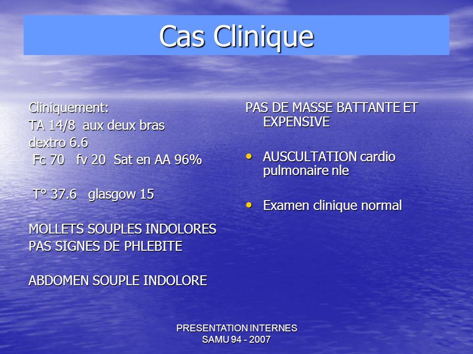 PRESENTATION INTERNES SAMU 94 - 2007 Cas Clinique
