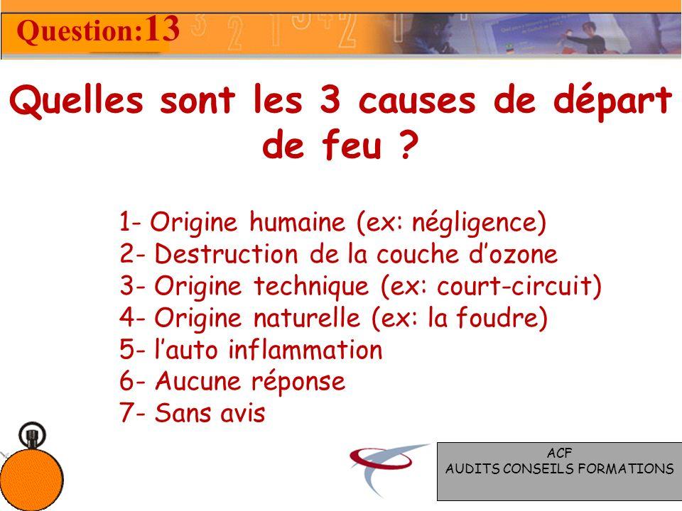 Quelles sont les 3 causes de départ de feu .