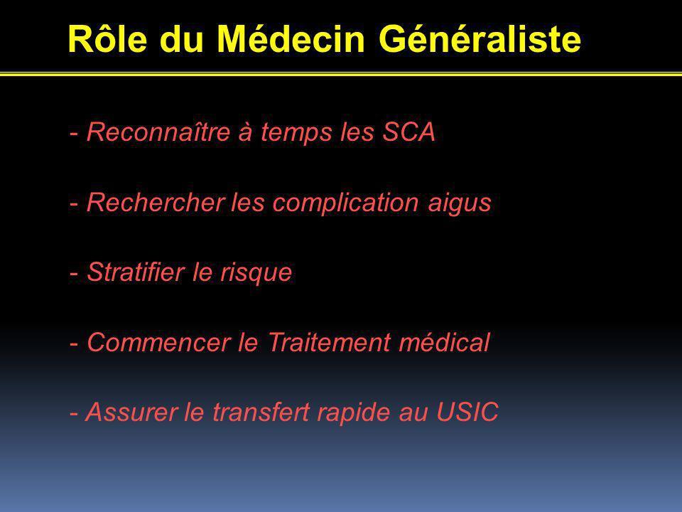 Rôle du Médecin Généraliste - Reconnaître à temps les SCA - Rechercher les complication aigus - Stratifier le risque - Commencer le Traitement médical - Assurer le transfert rapide au USIC