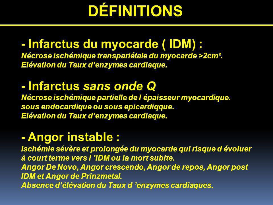 DÉFINITIONS - Infarctus du myocarde ( IDM) : Nécrose ischémique transpariétale du myocarde >2cm². Elévation du Taux denzymes cardiaque. - Infarctus sa