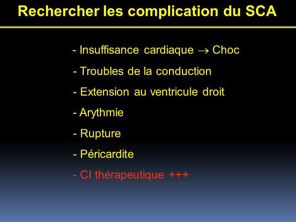 Rechercher les complication du SCA - Insuffisance cardiaque Choc - Troubles de la conduction - Extension au ventricule droit - Arythmie - Rupture - Péricardite - CI thérapeutique +++
