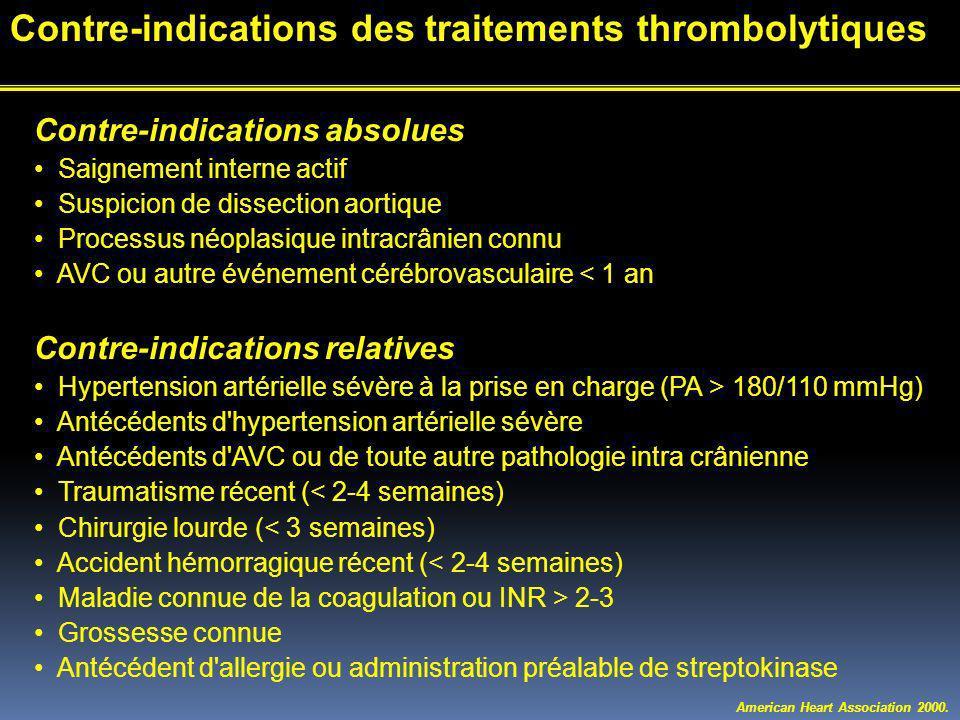 Contre-indications absolues Saignement interne actif Suspicion de dissection aortique Processus néoplasique intracrânien connu AVC ou autre événement cérébrovasculaire < 1 an Contre-indications relatives Hypertension artérielle sévère à la prise en charge (PA > 180/110 mmHg) Antécédents d hypertension artérielle sévère Antécédents d AVC ou de toute autre pathologie intra crânienne Traumatisme récent (< 2-4 semaines) Chirurgie lourde (< 3 semaines) Accident hémorragique récent (< 2-4 semaines) Maladie connue de la coagulation ou INR > 2-3 Grossesse connue Antécédent d allergie ou administration préalable de streptokinase American Heart Association 2000.
