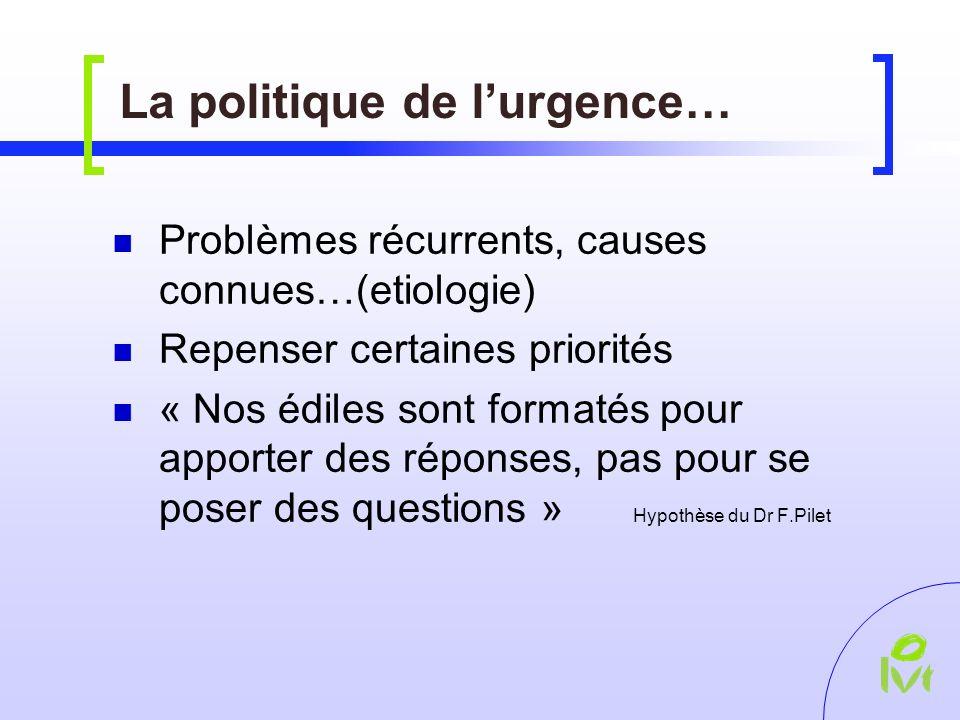 La politique de lurgence… Problèmes récurrents, causes connues…(etiologie) Repenser certaines priorités « Nos édiles sont formatés pour apporter des réponses, pas pour se poser des questions » Hypothèse du Dr F.Pilet