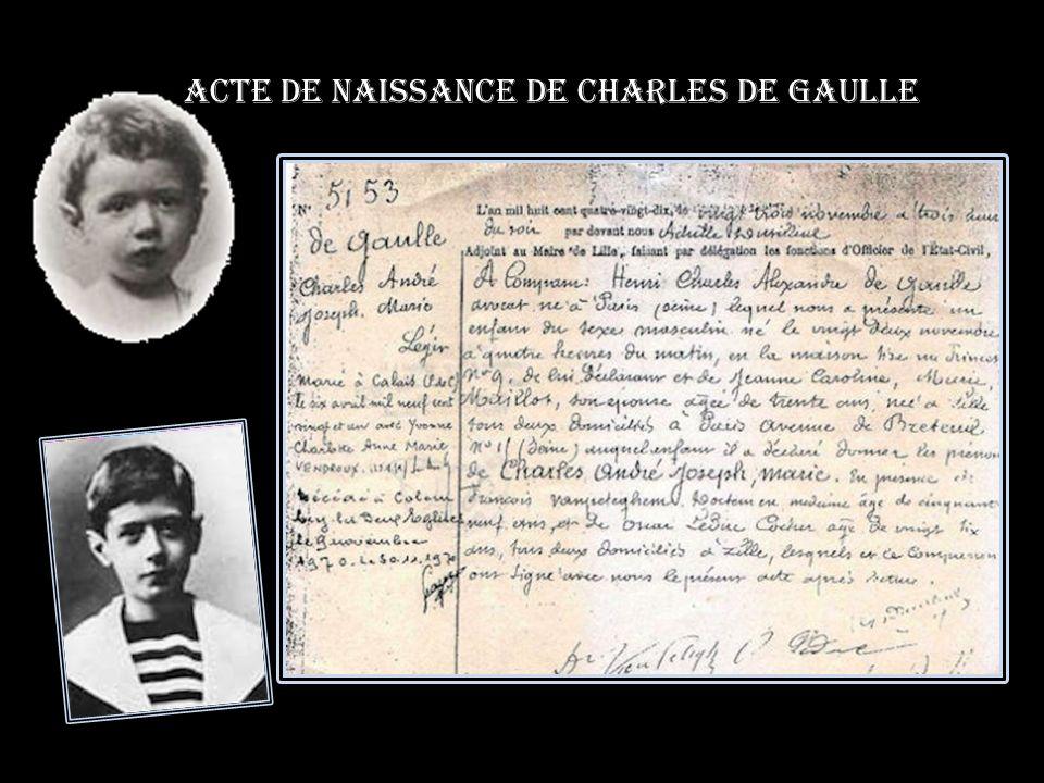 Acte de naissance de Charles De gaulle
