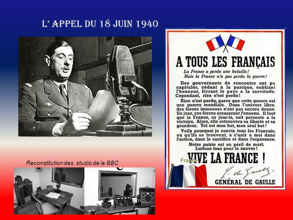 L appel du 18 juin 1940 Reconstitution des studio de la BBC