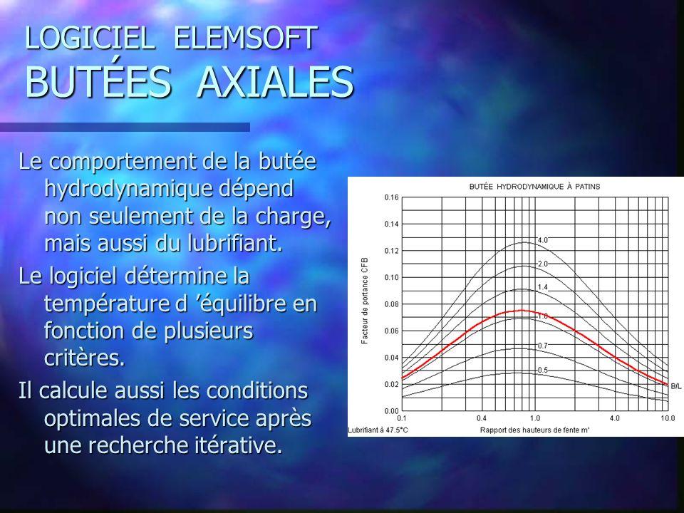 LOGICIEL ELEMSOFT BUTÉES AXIALES Le comportement de la butée hydrodynamique dépend non seulement de la charge, mais aussi du lubrifiant.