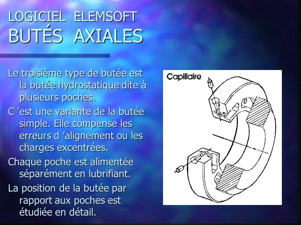 LOGICIEL ELEMSOFT BUTÉS AXIALES Le troisième type de butée est la butée hydrostatique dite à plusieurs poches.