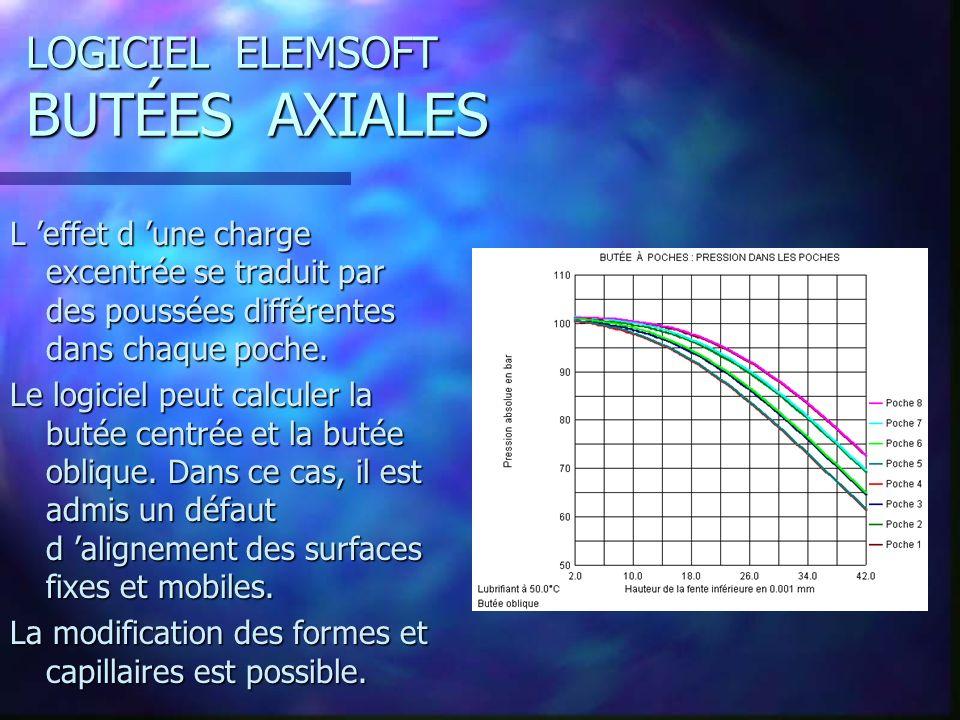 LOGICIEL ELEMSOFT BUTÉES AXIALES L effet d une charge excentrée se traduit par des poussées différentes dans chaque poche.
