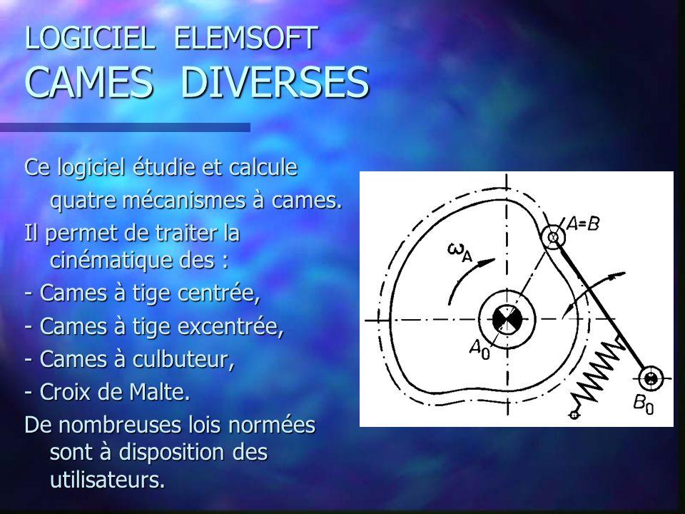 LOGICIEL ELEMSOFT CAMES DIVERSES Ce logiciel étudie et calcule quatre mécanismes à cames.