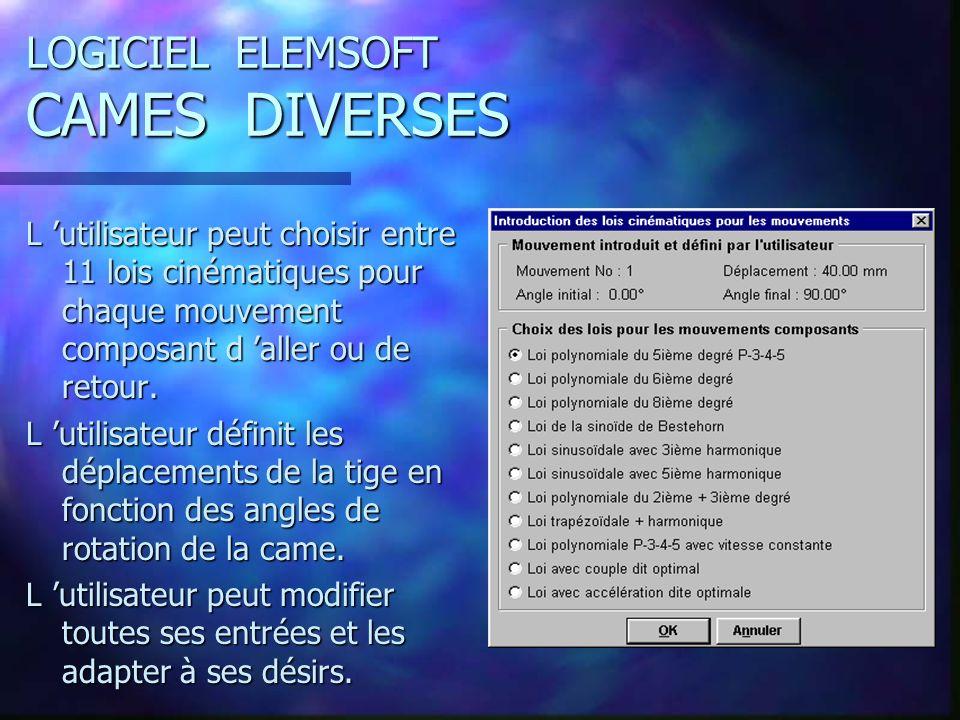 LOGICIEL ELEMSOFT CAMES DIVERSES L utilisateur peut choisir entre 11 lois cinématiques pour chaque mouvement composant d aller ou de retour.