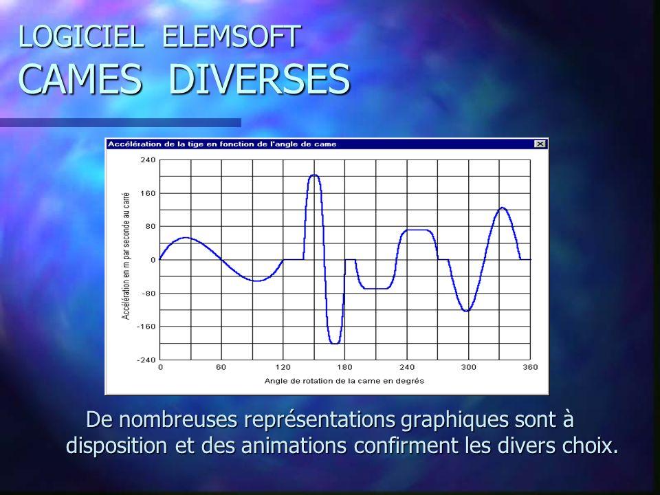 LOGICIEL ELEMSOFT CAMES DIVERSES De nombreuses représentations graphiques sont à disposition et des animations confirment les divers choix.
