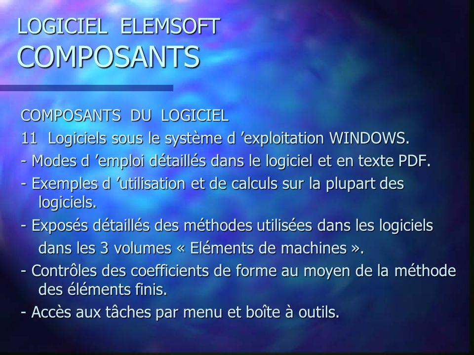 LOGICIEL ELEMSOFT COMPOSANTS COMPOSANTS DU LOGICIEL 11 Logiciels sous le système d exploitation WINDOWS.