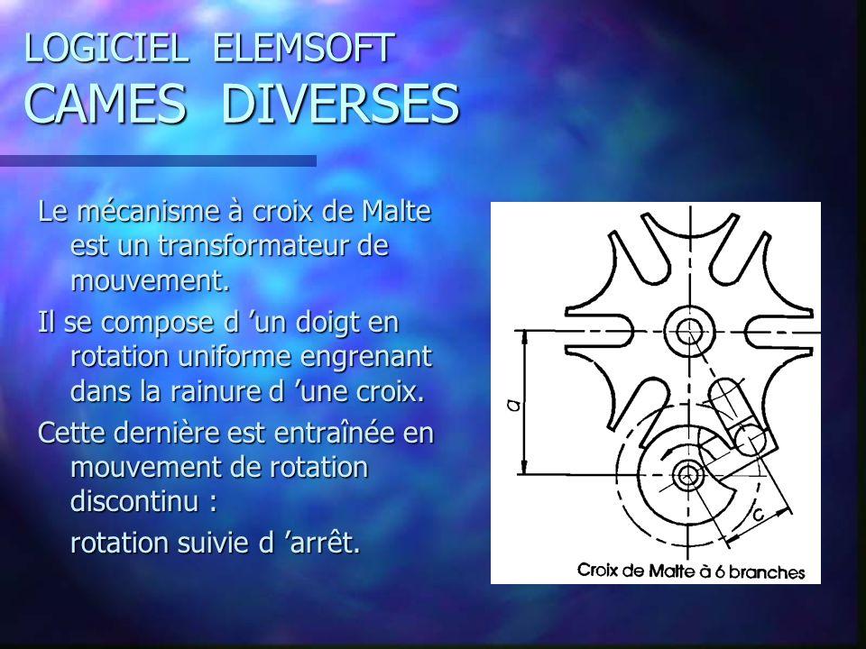 LOGICIEL ELEMSOFT CAMES DIVERSES Le mécanisme à croix de Malte est un transformateur de mouvement.