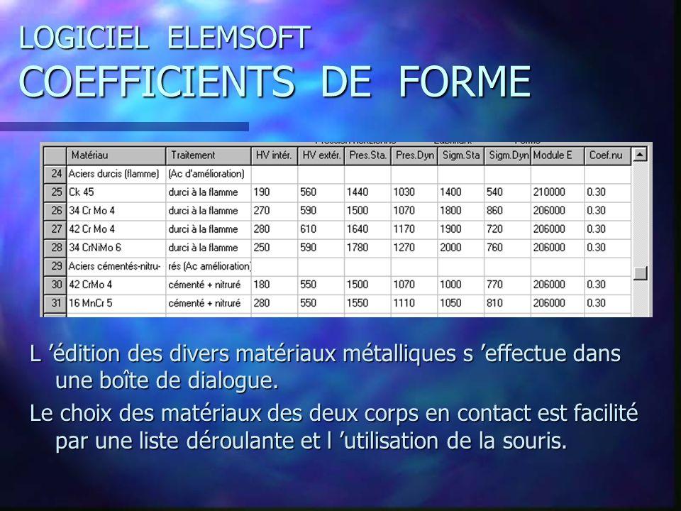 LOGICIEL ELEMSOFT COEFFICIENTS DE FORME L édition des divers matériaux métalliques s effectue dans une boîte de dialogue.