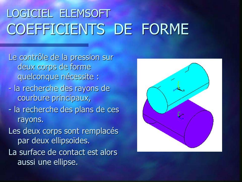 LOGICIEL ELEMSOFT COEFFICIENTS DE FORME Le contrôle de la pression sur deux corps de forme quelconque nécessite : - la recherche des rayons de courbure principaux, - la recherche des plans de ces rayons.
