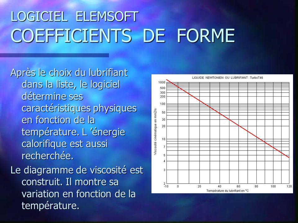 LOGICIEL ELEMSOFT COEFFICIENTS DE FORME Après le choix du lubrifiant dans la liste, le logiciel détermine ses caractéristiques physiques en fonction de la température.