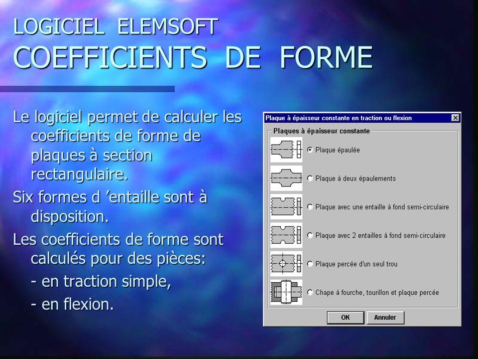 LOGICIEL ELEMSOFT COEFFICIENTS DE FORME Le logiciel permet de calculer les coefficients de forme de plaques à section rectangulaire. Six formes d enta