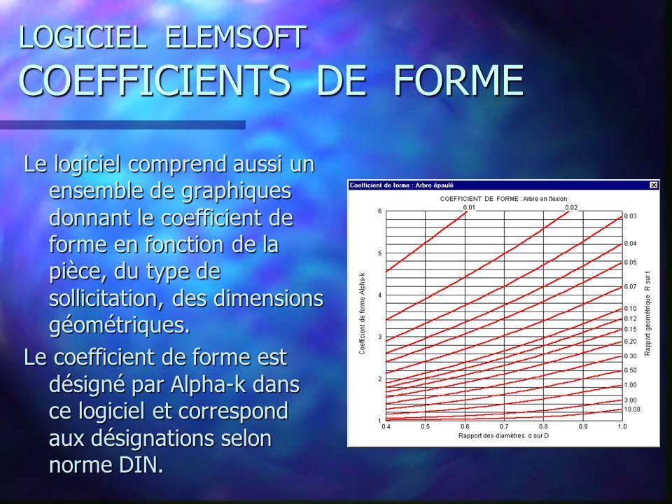 LOGICIEL ELEMSOFT COEFFICIENTS DE FORME Le logiciel comprend aussi un ensemble de graphiques donnant le coefficient de forme en fonction de la pièce, du type de sollicitation, des dimensions géométriques.