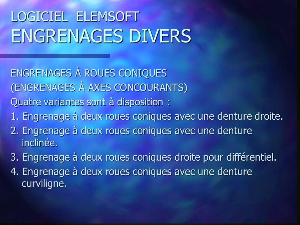 LOGICIEL ELEMSOFT ENGRENAGES DIVERS ENGRENAGES À ROUES CONIQUES (ENGRENAGES À AXES CONCOURANTS) Quatre variantes sont à disposition : 1.