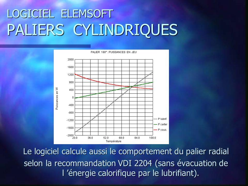 LOGICIEL ELEMSOFT PALIERS CYLINDRIQUES Le logiciel calcule aussi le comportement du palier radial selon la recommandation VDI 2204 (sans évacuation de l énergie calorifique par le lubrifiant).