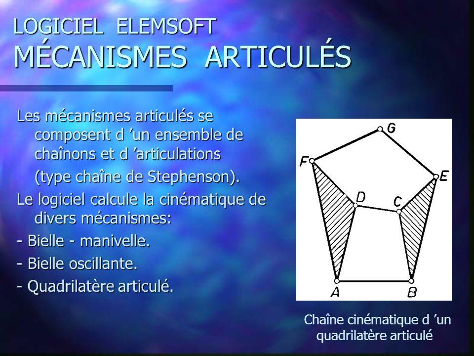LOGICIEL ELEMSOFT MÉCANISMES ARTICULÉS Les mécanismes articulés se composent d un ensemble de chaînons et d articulations (type chaîne de Stephenson).