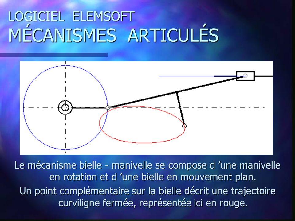 LOGICIEL ELEMSOFT MÉCANISMES ARTICULÉS Le mécanisme bielle - manivelle se compose d une manivelle en rotation et d une bielle en mouvement plan.