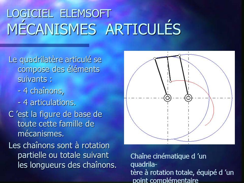 LOGICIEL ELEMSOFT MÉCANISMES ARTICULÉS Le quadrilatère articulé se compose des éléments suivants : - 4 chaînons, - 4 articulations.