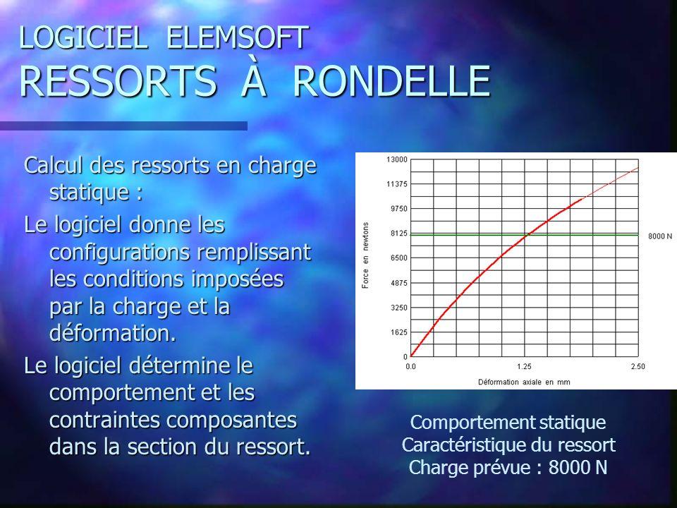 LOGICIEL ELEMSOFT RESSORTS À RONDELLE Calcul des ressorts en charge statique : Le logiciel donne les configurations remplissant les conditions imposées par la charge et la déformation.