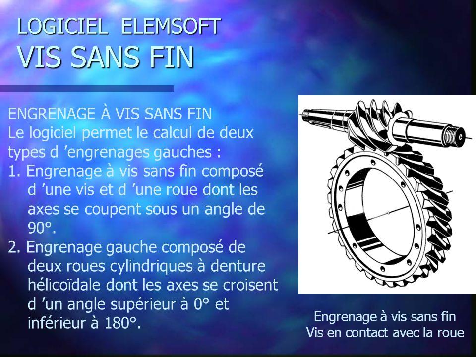 LOGICIEL ELEMSOFT VIS SANS FIN ENGRENAGE À VIS SANS FIN Le logiciel permet le calcul de deux types d engrenages gauches : 1.
