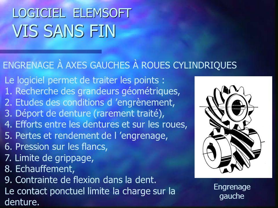 LOGICIEL ELEMSOFT VIS SANS FIN ENGRENAGE À AXES GAUCHES À ROUES CYLINDRIQUES Le logiciel permet de traiter les points : 1.