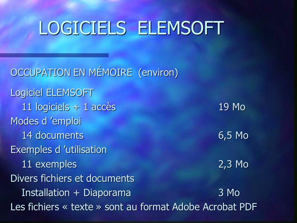 LOGICIELS ELEMSOFT OCCUPATION EN MÉMOIRE (environ) Logiciel ELEMSOFT 11 logiciels + 1 accès19 Mo Modes d emploi 14 documents6,5 Mo Exemples d utilisation 11 exemples2,3 Mo Divers fichiers et documents Installation + Diaporama3 Mo Les fichiers « texte » sont au format Adobe Acrobat PDF