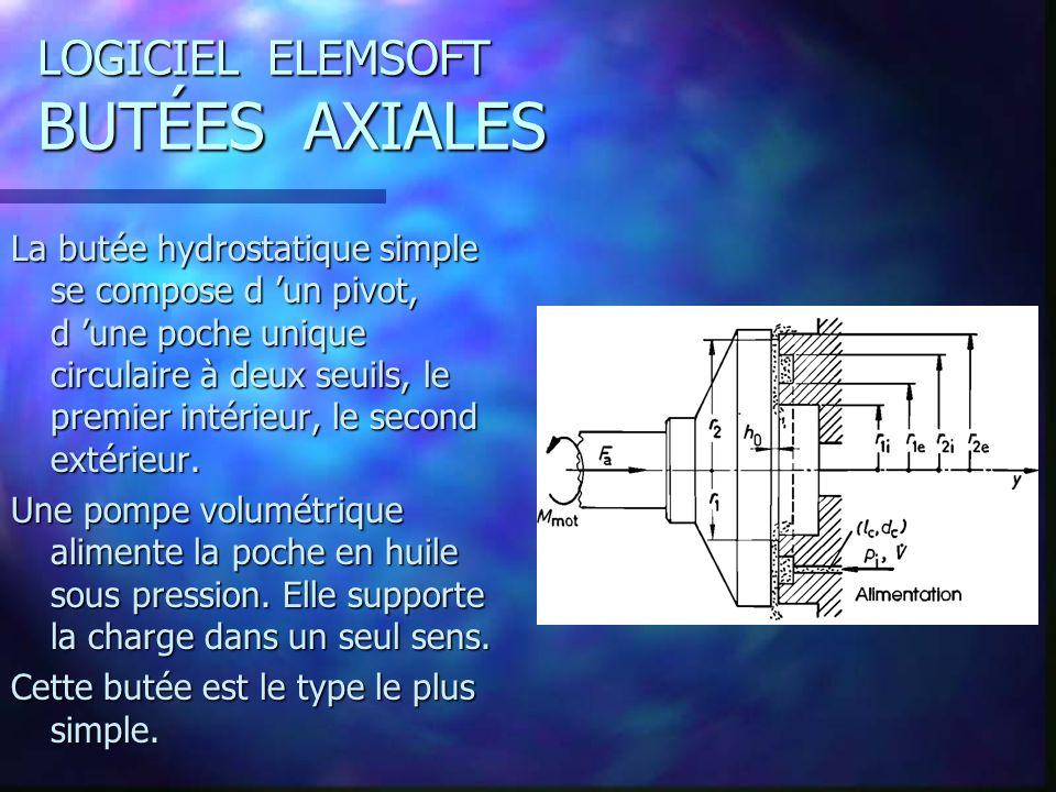 LOGICIEL ELEMSOFT BUTÉES AXIALES La butée hydrostatique simple se compose d un pivot, d une poche unique circulaire à deux seuils, le premier intérieur, le second extérieur.