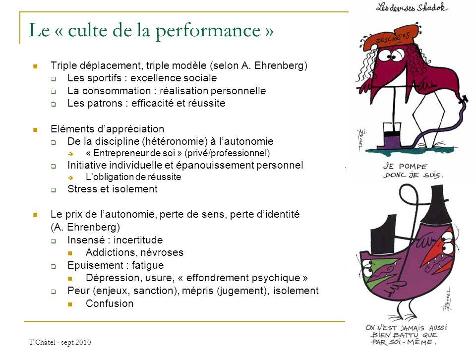 T.Châtel - sept 2010 Le « culte de la performance » Triple déplacement, triple modèle (selon A. Ehrenberg) Les sportifs : excellence sociale La consom